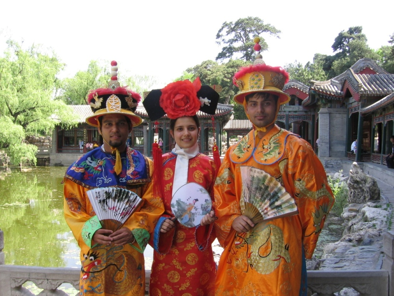Wearing chinese traditional clothes in summer palace of beijing.
